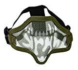 Fashion Shop Half Face Tactical Wire Mesh Protective Mask Military Style Camouflage Mask for Cs Airsoft Paintball Hunting Wargame (Skull/Green)