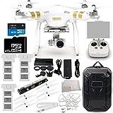 DJI Phantom 3 Professional Drone w/ 4K Camera, 3-Axis Gimbal & Manufacturer Accessories + 2 DJI Intelligent Flight Batteries + Water-Resistant Hardshell Backpack + 7PC Filter Kit (UV-CPL-ND2-400-Lens Hood-Stabilizer) + MORE