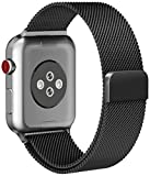 #4: For Apple Watch Band, Smooth Stainless Steel Strap Freely Fully Magnetic Closure Clasp Metal Strap Wrist Band Replacement Bracelet for IWatch Band Series 3/2/1 (42mm black)