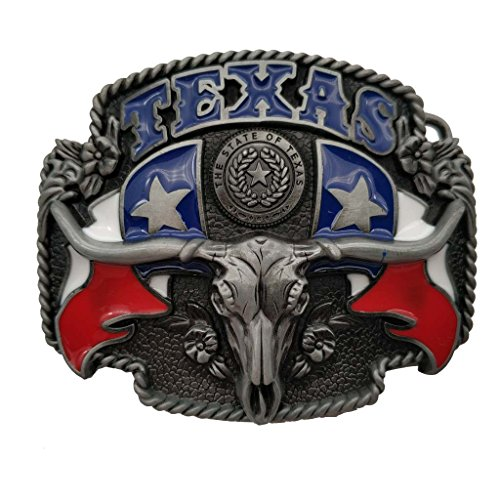 Longhorn Bull Texas Western Belt Buckle, 1.5 INCH, Multicolored