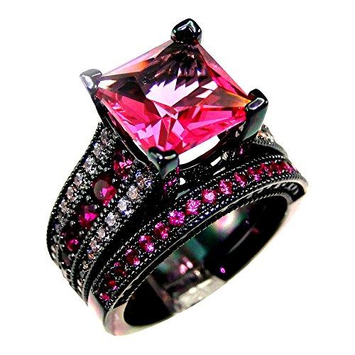 DJ-CH-AAA-Zircon-Rose-Cubic-Cz-Stone-Women-Wedding-Black-Ring-Set-Size-5-12