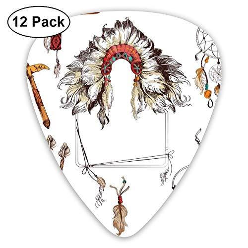 Guitar Picks - Abstract Art Colorful Designs,Ethnic Tomahawk Tribal Native Chef Dreamcatcher Feather Old World Motifs Image,Unique Guitar Gift,For Bass Electric & Acoustic Guitars-12 Pack