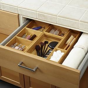 Seville Classics Box Utensil & Kitchen Tool Holder Storage Organizer, 5 pc/w Dividers, Bamboo