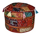 Mirror Patchwork Design Cotton Traditional Embroidered Ottoman Cover 17 X 17 X 12 Inches