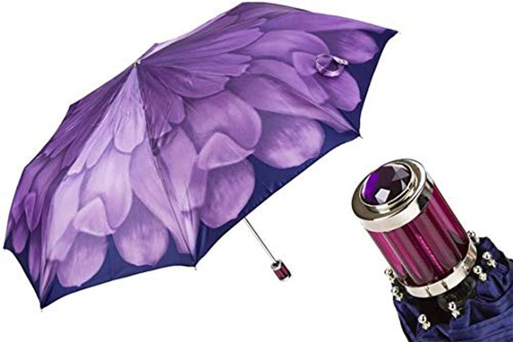 Pasotti Folding Umbrella - Limited Edition Dahlia Flower - Purple