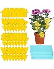MOOKLIN ROAM Fruitvliegenval, gele stickers, 60 stuks, vliegenvanger, gele borden, waterdicht, gele val, muggenval, lijmval voor het bestrijden van kamerplanten, potplanten