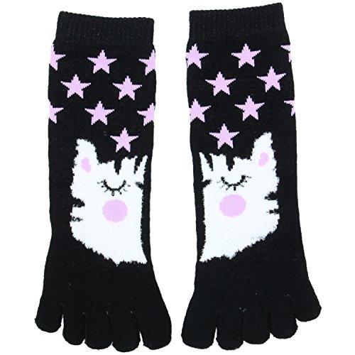 Densley & Co. Girls Animal Critter Tube Toe Socks, Kitty Cat (13-4 Shoe Size)