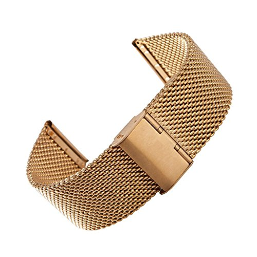 Yishun Deluxe 22mm Stainless Steel Mesh Metal Watchband Strap Adjustable Bracelet Band for 2015 Motorola Moto 360 2nd Gen 46mm Smartwatch (Gold)