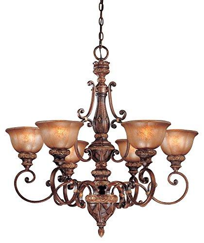 Minka Lavery 1356-177 Illuminati - Six Light Chandelier, Bronze Finish with Silver Patina Glass - 177 Illuminati Bronze Finish