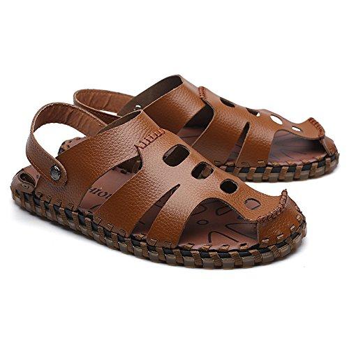Marrone Sandali shoes regolabile Mens Scarpe genuino morbidi casuali l'escursione cuoio del per degli della ambulante della Backless spiaggia uomini piatti spiaggia all'aperto 2018 pwgxFE5nBx