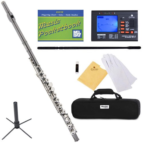 mendini-mfe-bnn-sd-pb-92d-black-nickel-plated-with-nickel-plated-keys-closed-hole-c-flute-with-1-yea