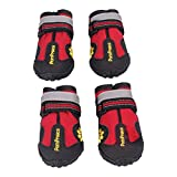 Waterproof Pet Boots - SODIAL(R)4 x Waterproof Pet Shoes Anti Skid Dog Boots For Medium/Large Labrador Husky Shoes, Red 8