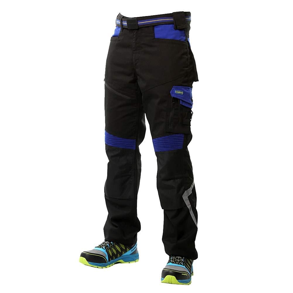 Goodyear Workwear GYPNT010 - Pantalones de trabajo para hombre, con bolsillos y bolsillos, 31/38, negro y azul real, 1