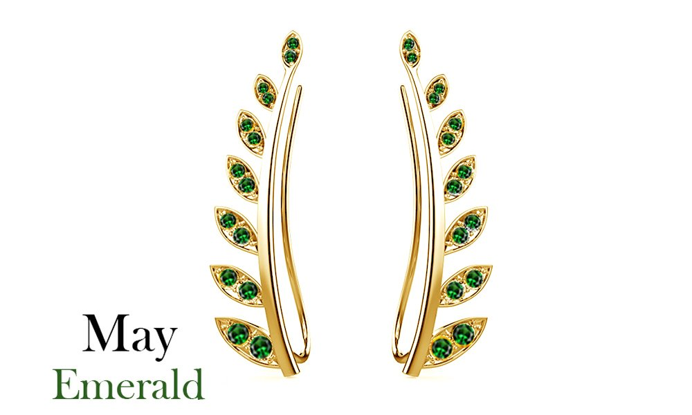 Mothers Day Jewelry Gifts Simulated Green Emerald Ear Crawler Cuff Earrings 14k Yellow Gold Over Sterling Silver Climber Studs Olive Leaf