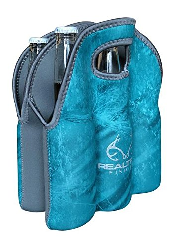 Koverz - #1 Neoprene Insulated 6-Pack Carrier, Beer Bottle Carrier, Six-Pack Tote - Realtree Fishing Turquoise