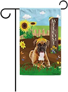 BAGEYOU Welcome Summer Sunflower Dog Garden Flag German Boxer Puppy Playing on a Country Farm Butterfly Flowers Decor Banner for Outside 12.5x18 Inch Print Double Sided