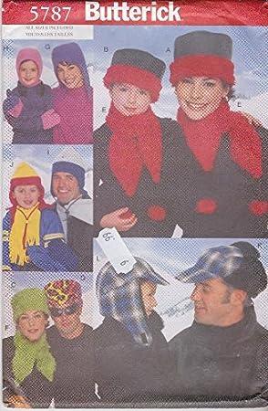 Butterick patrón de costura para 5787 - para las niñas niños todos los tamaños sombreros bufandas manoplas: Amazon.es: Juguetes y juegos
