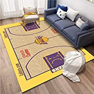 Lakers Home Carpets, 3D Printed Area Rugs for Kids Boys Girls Bedroom Doormat Polyester Non-Slip Household Lak