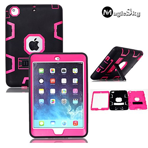 MagicSky Shock-Absorption Rugged Hybrid Dual Layer Armor with Kickstand Case for iPad mini/iPad mini 2/ iPad mini3 - Hot Pink/Black (Hot Pink Ipad 2 Case compare prices)