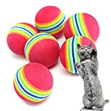 Cratone Toys for Dogs and Cats Pet Balls Rainbow Tooth Brushing Tough Strong Durable Nontoxic Playset Accessories Gifts 6PCS