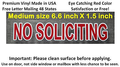 Premium and Pretty variety 2 Pack, Removable Glue + Static Cling! Best reviewed NO SOLICITING sign sticker, transparent with red color like a stop sign to keep solicitors - Tracking Us Mail International