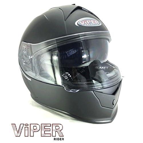 Viper moto casque RSV8 stéréo noir mat intégral ECE ACU approuvé tournée casque (M)