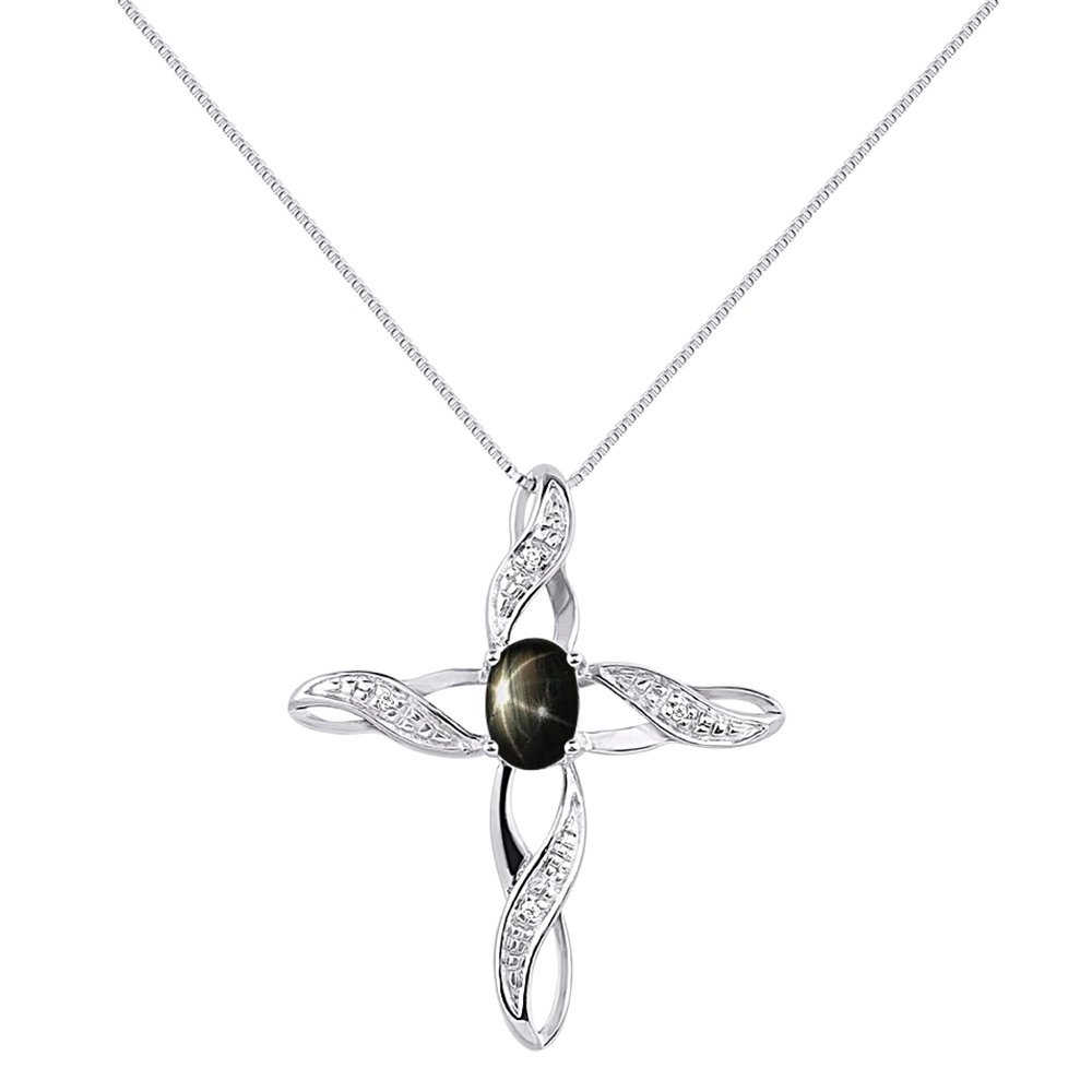 Diamond /& Black Star Sapphire Cross Pendant Necklace Set In Sterling Silver .925 with 18 Chain