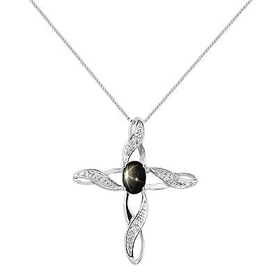 Amazon diamond black star sapphire cross pendant necklace set diamond black star sapphire cross pendant necklace set in sterling silver 925 with 18quot aloadofball Choice Image
