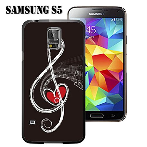 buy online ef560 351d4 S5 Case Samsung Galaxy S5 Black Cover TPU Rubber Gel - Red Heart and Music  Note