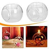 Mingxiao 4pcs 10cm clear Candle Glass vase Bowls flowers Holder for Wedding Party Birthday Centerpieces Home Decorations Supplies