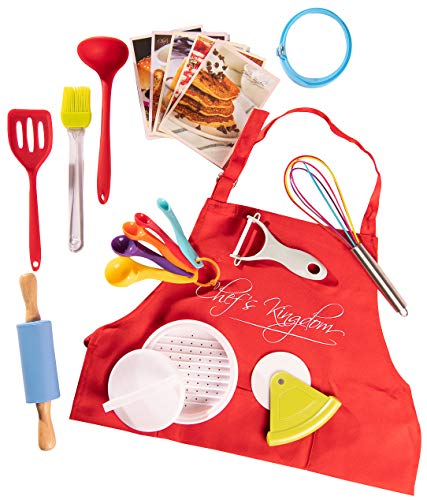 Riki's Kingdom kids Cooking & Baking Utensil Set, 20-Piece-Safe Kitchen Tools,Burger Press/Pizza Cutter/Rolling Pin/Spatula/Whisk/Ladle/Pastry Brush/Veggie Peeler/Apron/Recipe -