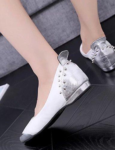 aire al negro Pisos casual PDX vestido plata blanco us8 uk6 de y plano Toe punta de zapatos eu39 talón carrera oficina mujer ante white cn39 libre vqnUPwvf