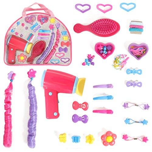 Mommy & Me Doll Hair play set with working Blow dryer Hair Brush and Over 30 accessories