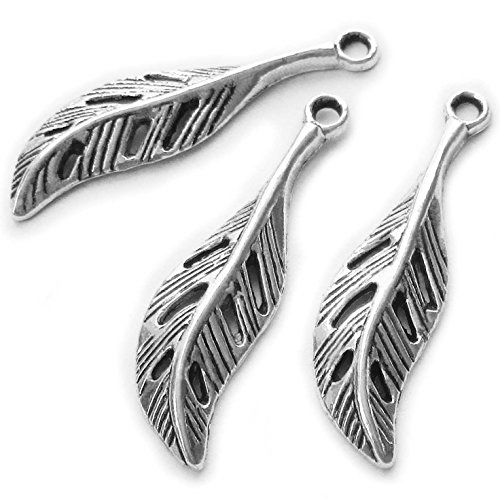 Heather's cf 106 Pieces Silver Tone Leaf Beads DIY Charms Pendants 29mmX8mm