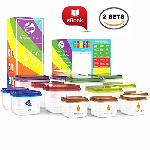 SDC - Portion Control Containers Kit Double Set (14 Piece) with COMPLETE GUIDE + 21 DAY MEAL PLANNER + BONUS EBOOK, Leak Proof Microwave and Dishwasher Safe