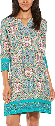Coolibar UPF 50+ Women's Oceanside Tunic Dress - Sun Protective (Large- Green Multicolor Island Medallion)