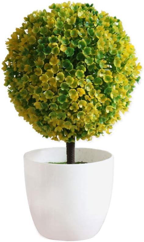 Image of Haihuic Árboles de Bola de arbustos de Topiary Artificial de 25 cm Mini Plantas de Mesa de imitación con macetas Blancas para el hogar, baño, decoración de la casa Amarillo