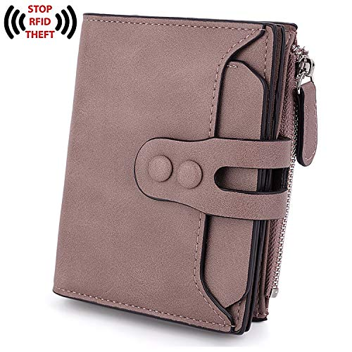 UTO RFID Wallet for Women PU Matte Leather Blocking Tech Wallet Card Holder Organizer Girls Coin Purse with Snap Closure E Purple ()