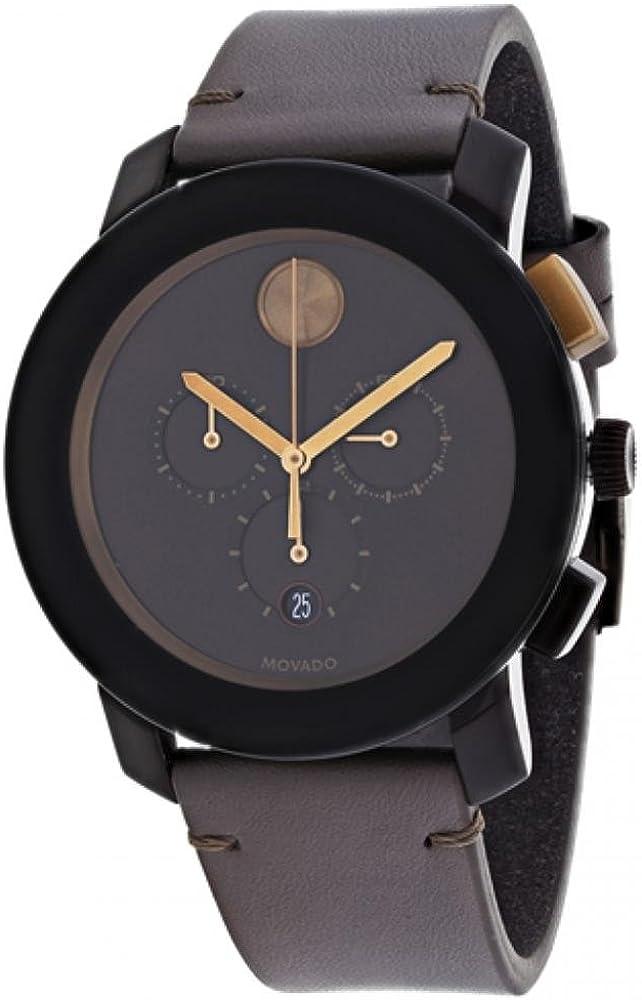 Movado Bold Reloj de hombre cuarzo 44mm correa de cuero caja de 3600445
