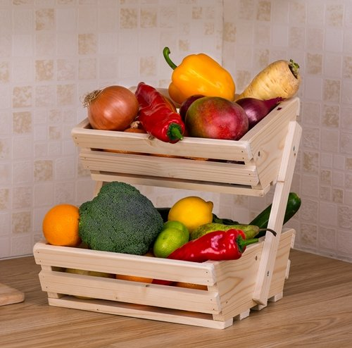 2 tier Small Wooden Vegetable fruit food storage rack Angled RafsWoodland