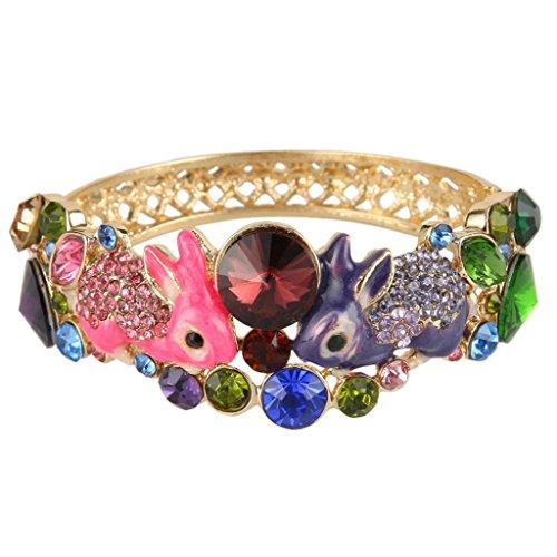 EVER FAITH Women's Austrian Crystal Enamel Adorable 2 Rabbit Bangle Bracelet Multicolor (Multi Color Enamel Bracelet)