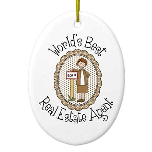 Zazzle World's Best Real Estate Agent Tees and Gifts Ceramic Ornament - Oval 946