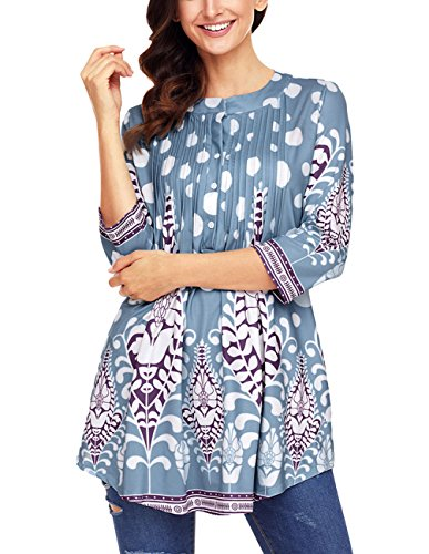 Ray-JrMALL Womens Pleated Blouse Tops Loose Cotton Tunic Plus Size Light Blue Top (Blouse Silky Cotton)