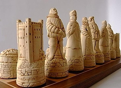 Large Heavy Stunning full complete set of Scottish V's English chess chessmen game pieces-brown and Ivory coloured