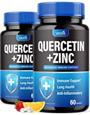 (2 Pack) Quercetin 500mg with Zinc - Immune System Booster, Lung Support Supplement for Adults Kids - Immunity Defense (120 Capsules)