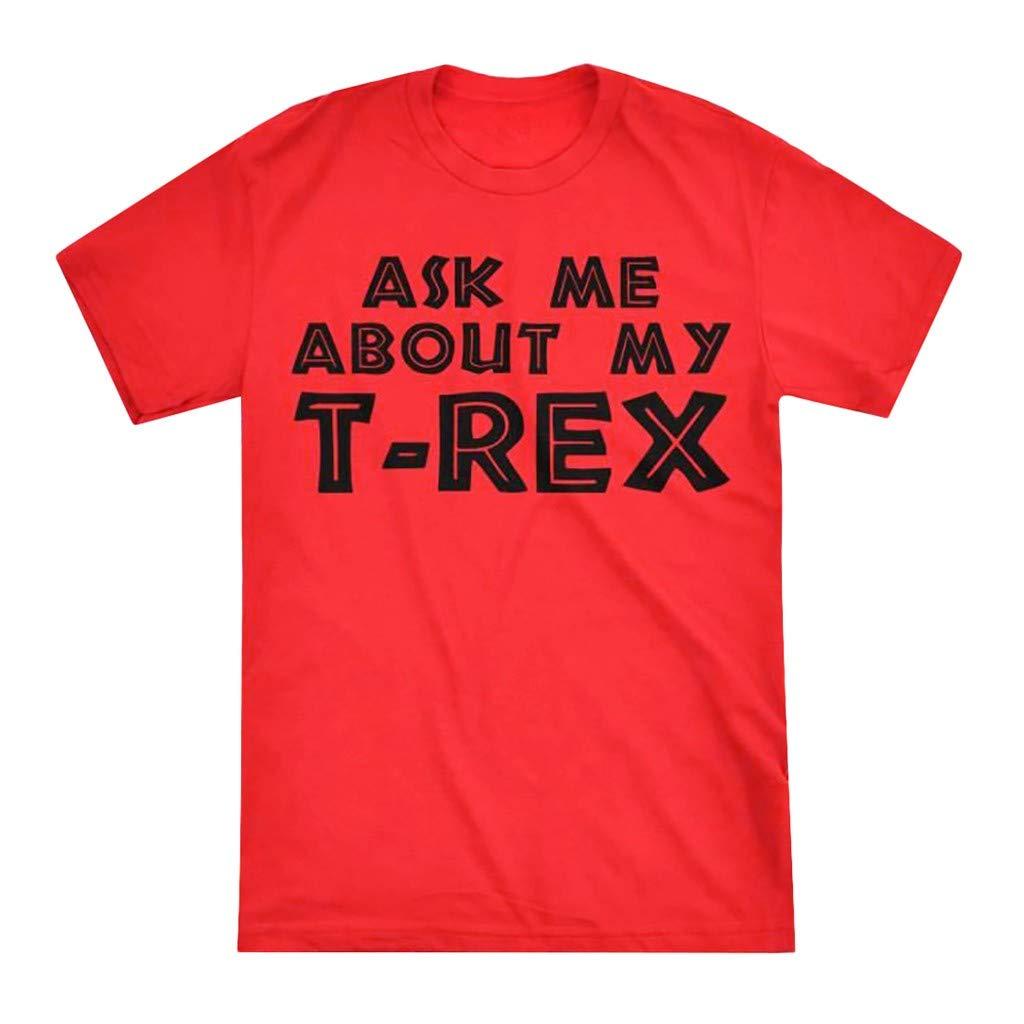 Men T Shirt Summer,Fineser New Men Teens Short Sleeve Front and Back Letter/&Dinosaur Print Casual Tee T Shirt Top S-3XL