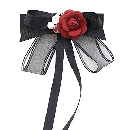 ICEYUN women black bow tie red rose pearl pendant necktie brooch dual use accessories (Long)
