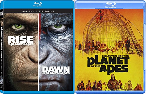 Rise of the Apes + Dawn of Planet of the Apes & Planet Of The Apes '68 Charlton Heston Sci-Fi Blu Ray Space Thriller Action Space 3 Movie Set