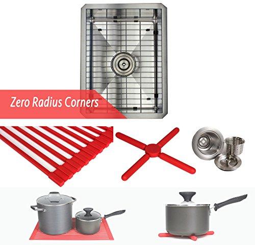 15 INCH Zero Radius Design 16 Gauge Undermount Single Bowl Stainless Steel Kitchen Bar Prep Island Sink Premium Package (15 INCH) KKR-F1520 (Sink Large Bar Square)