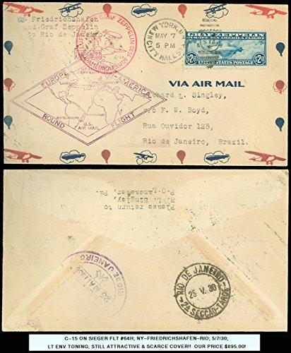 1930 SIEGER #64H, GRAF ZEPPELIN, 1ST EUROPE PAN AMERICA COVER to BRAZIL! SC #C15 Graf Zeppelin Cover